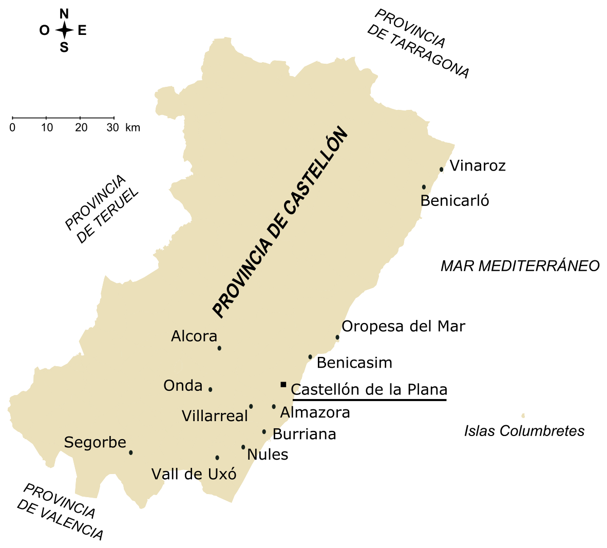 Cities of the province of Castellón 2005
