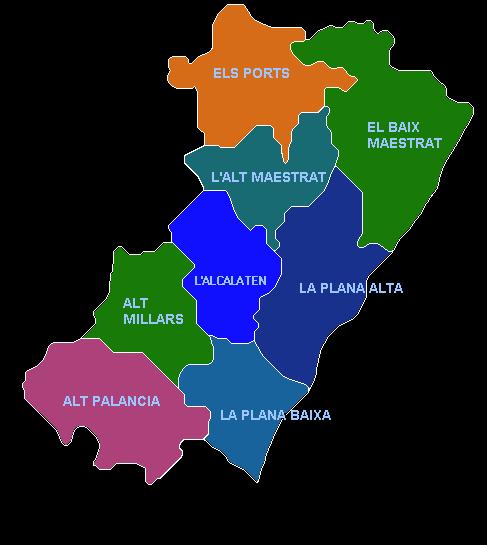 Comarcas de la provincia de Castellón