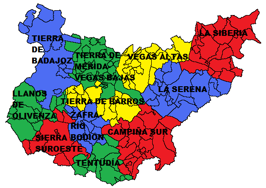 Comarcas of the Province of Badajoz 2010