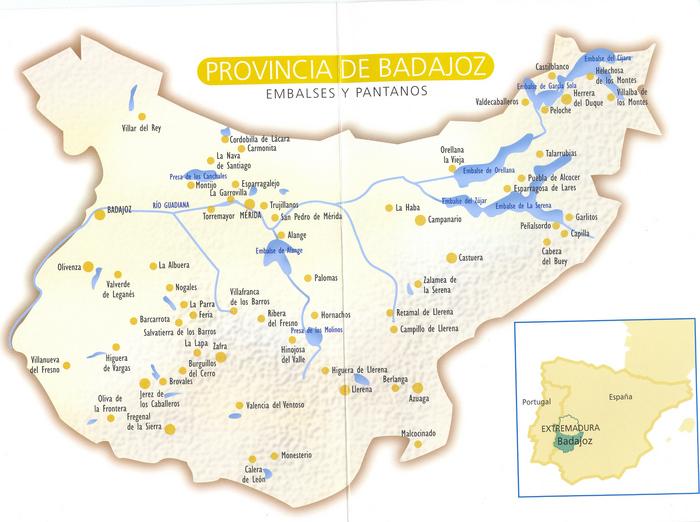 Embalses y pantanos de la Provincia de Badajoz