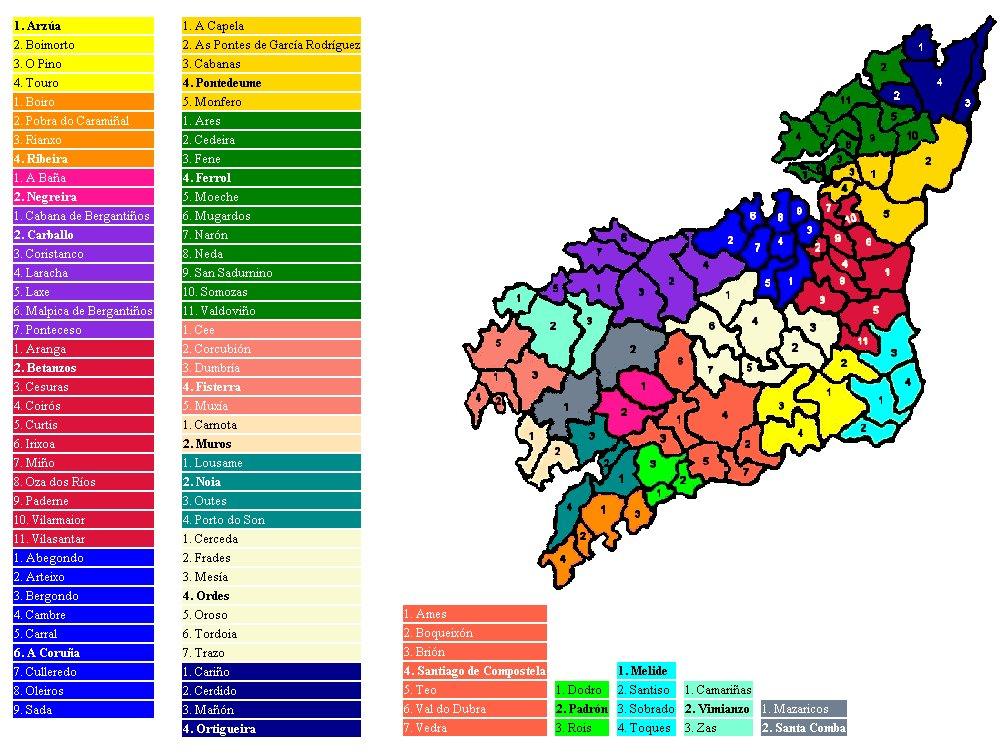Municipality map of the province of A Coruña 2007