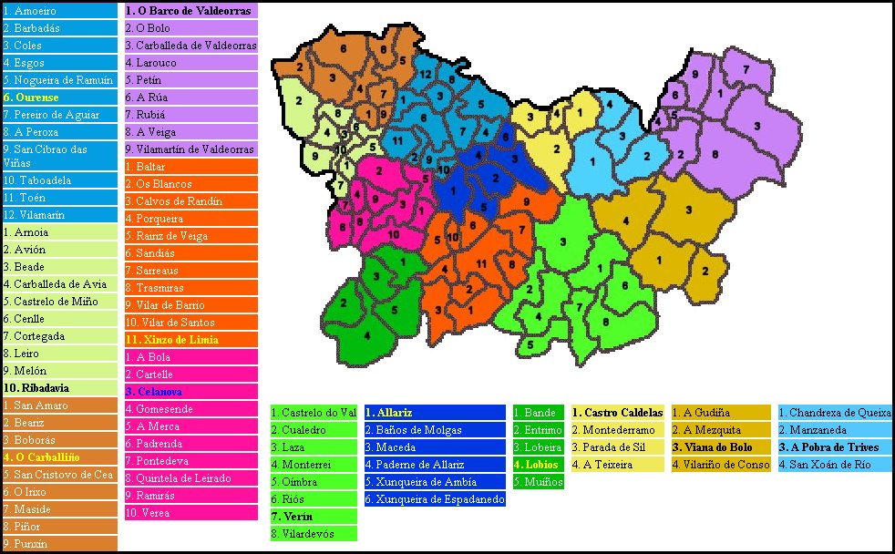 Comarcas and municipalities of the province of Ourense 2005