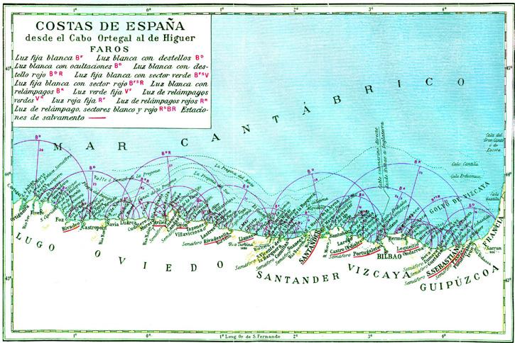 Costa de España desde el Cabo Ortegal al de Higuer