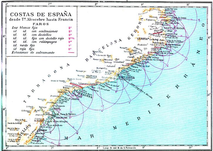 Costa de España desde Alcocebre hasta Francia