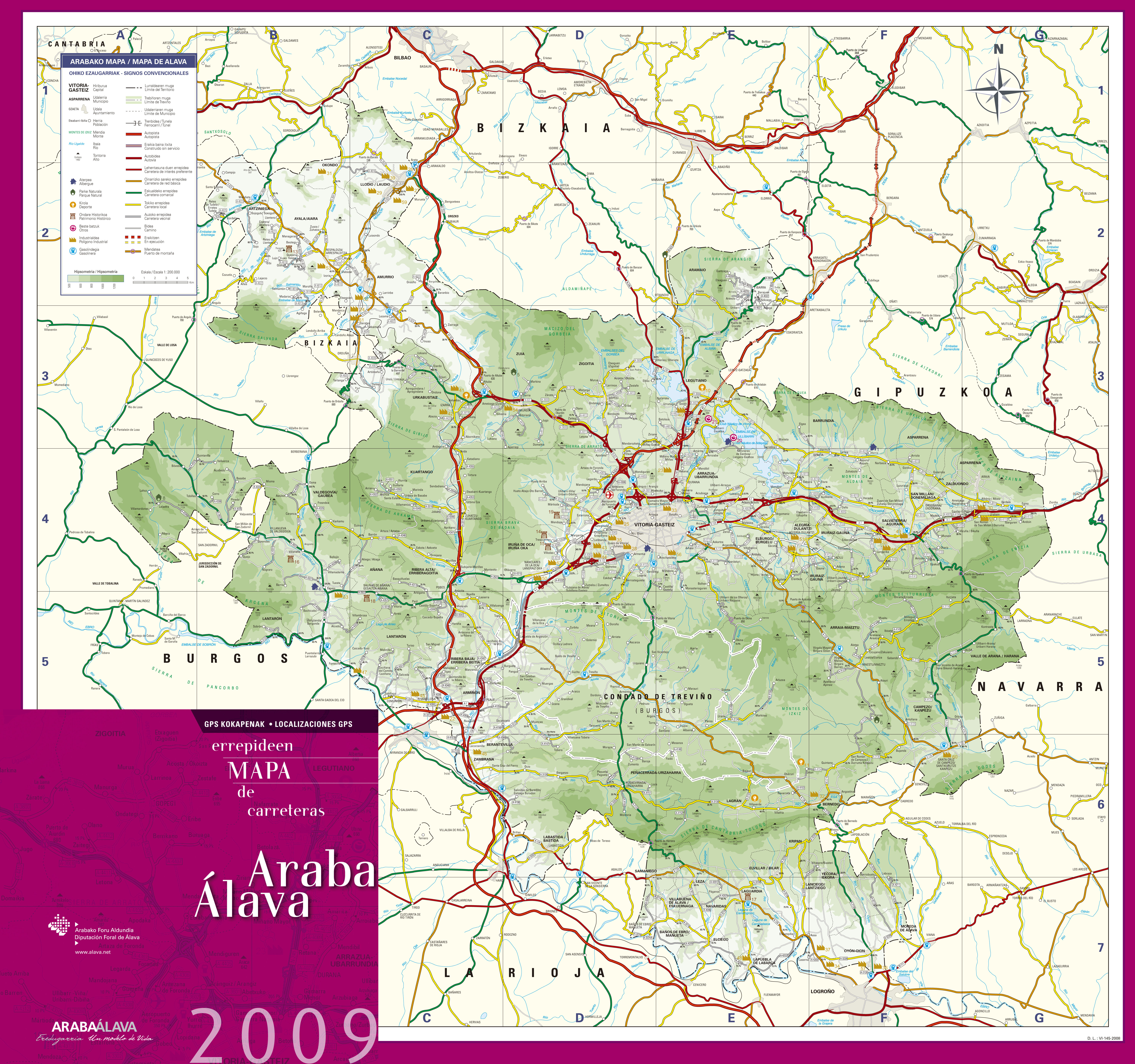Mapa de carreteras de Álava 2009