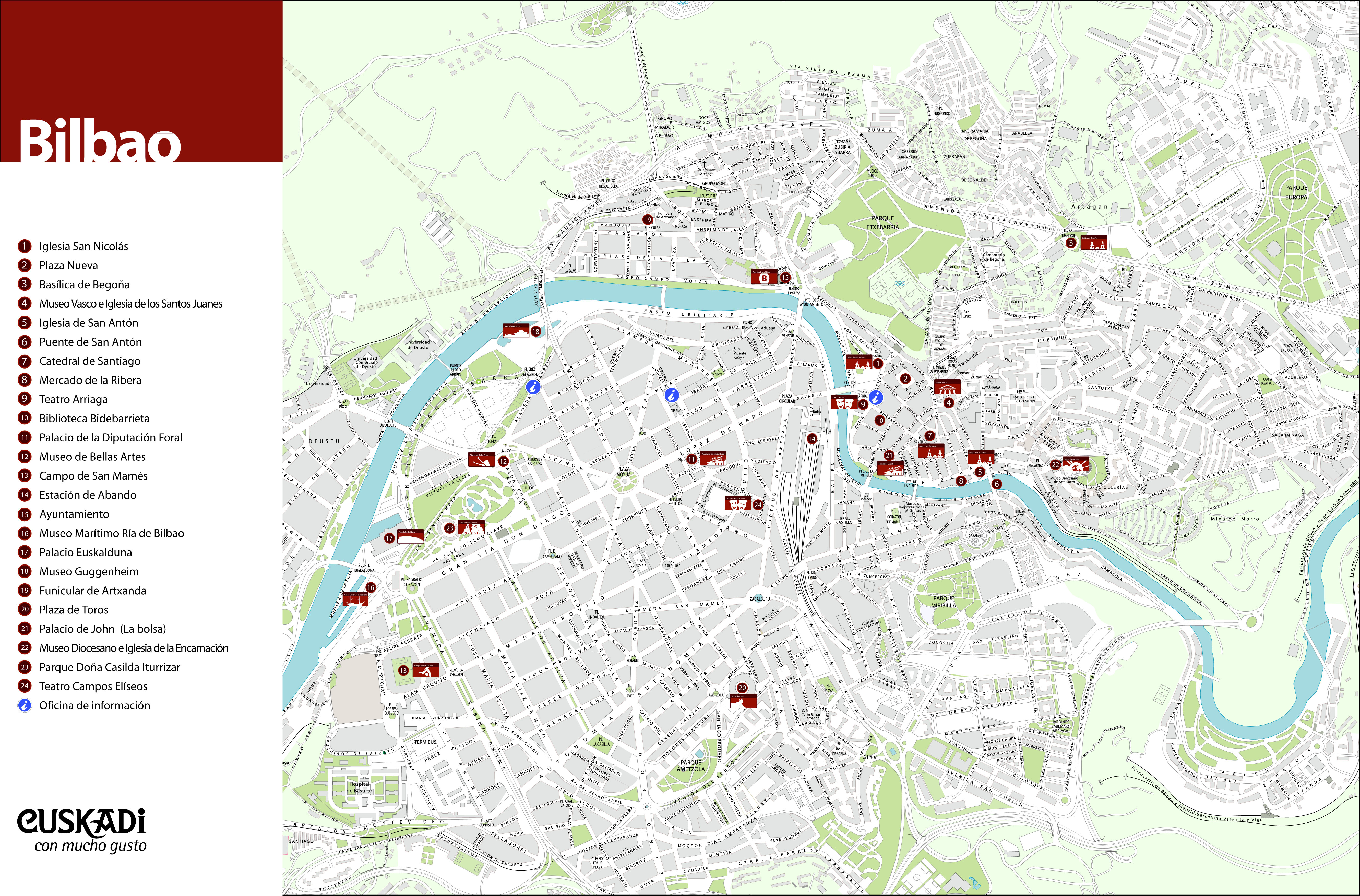 Mapa turístico de Bilbao