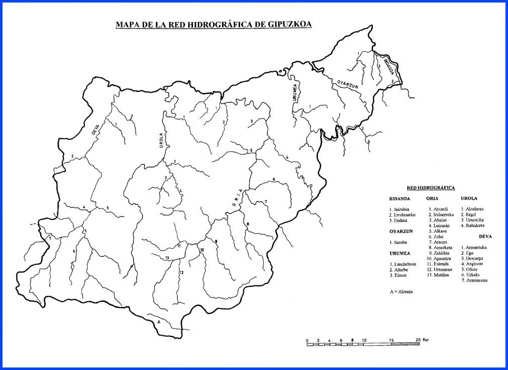 Hydrographic network of Gipuzkoa