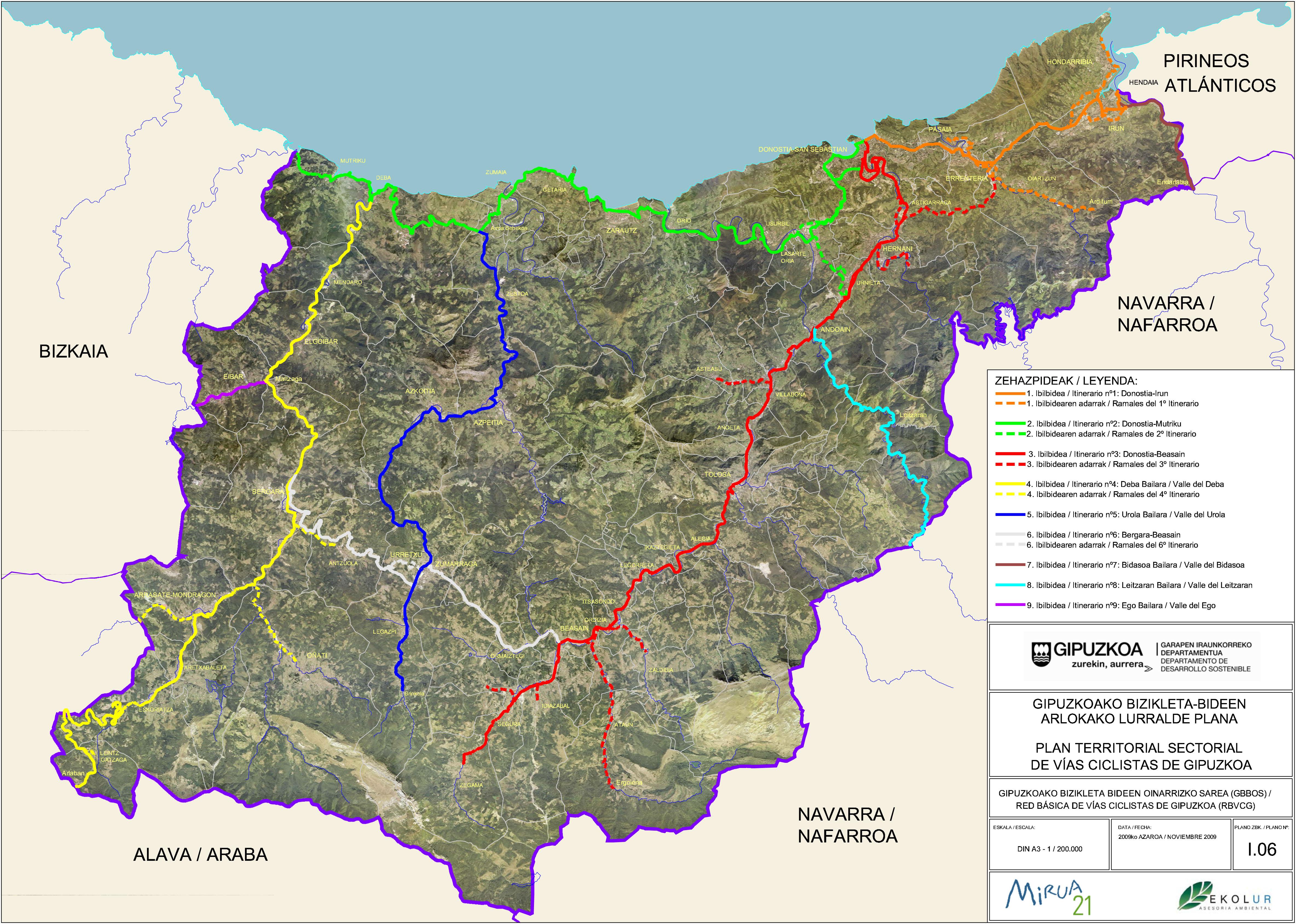 Red básica de vías ciclistas de Guipúzcoa