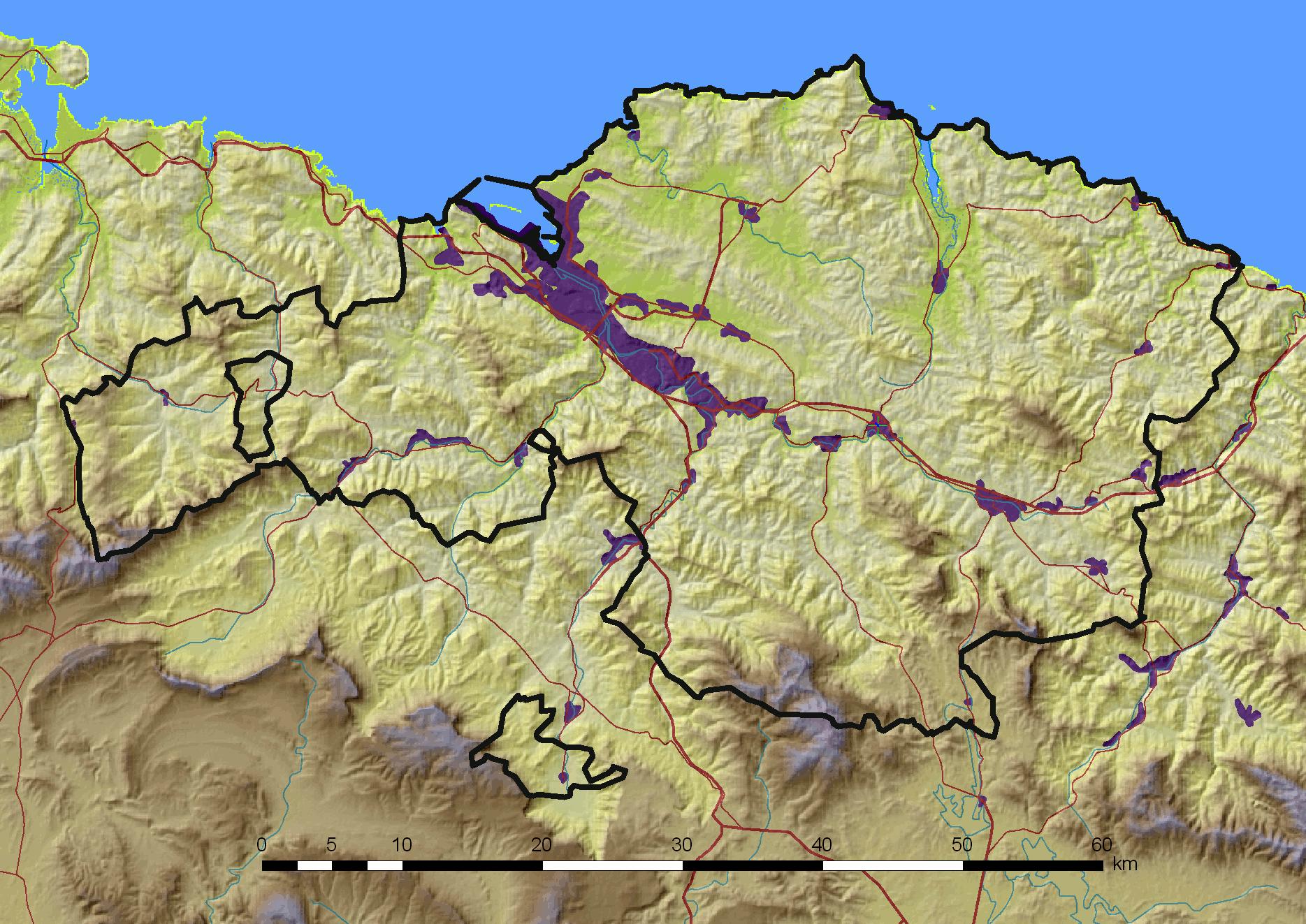 Mapa físico de Vizcaya 2008