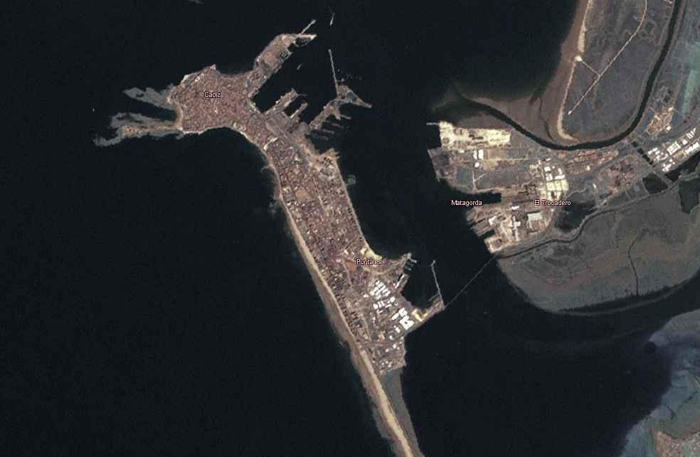 Foto satelital de la ciudad de Cádiz