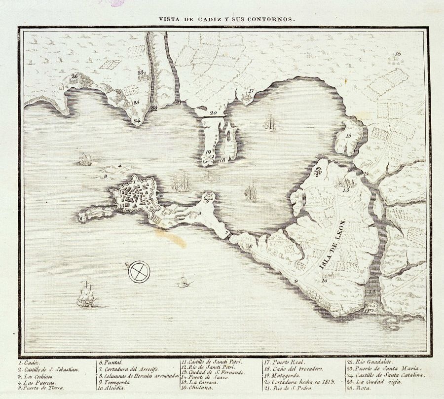 Map of Cadiz Bay 1813