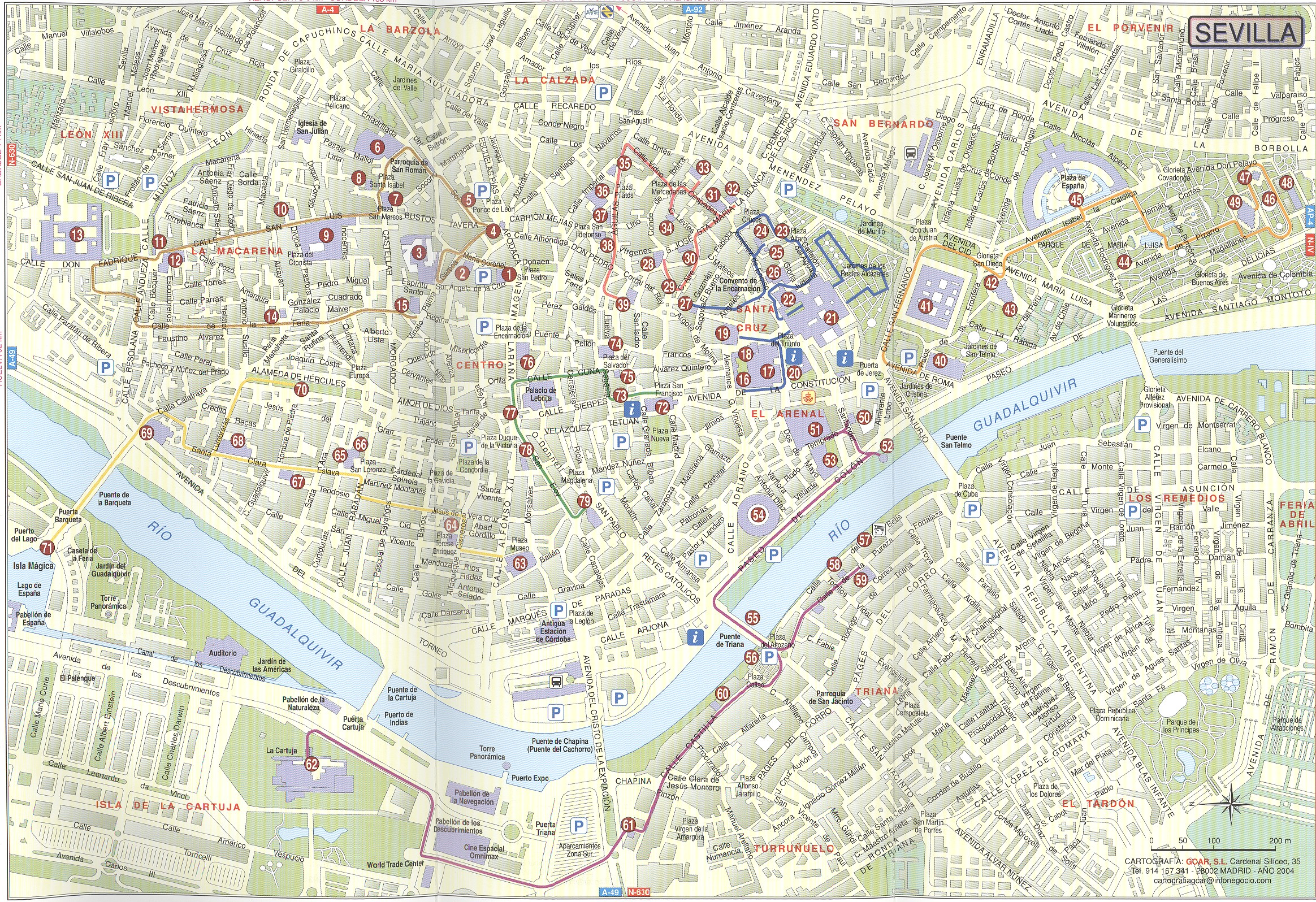 Seville streets map 2004