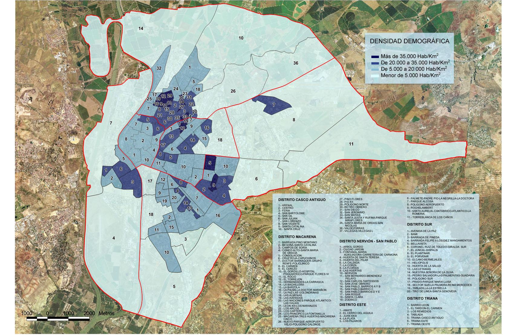 Seville population density 2005