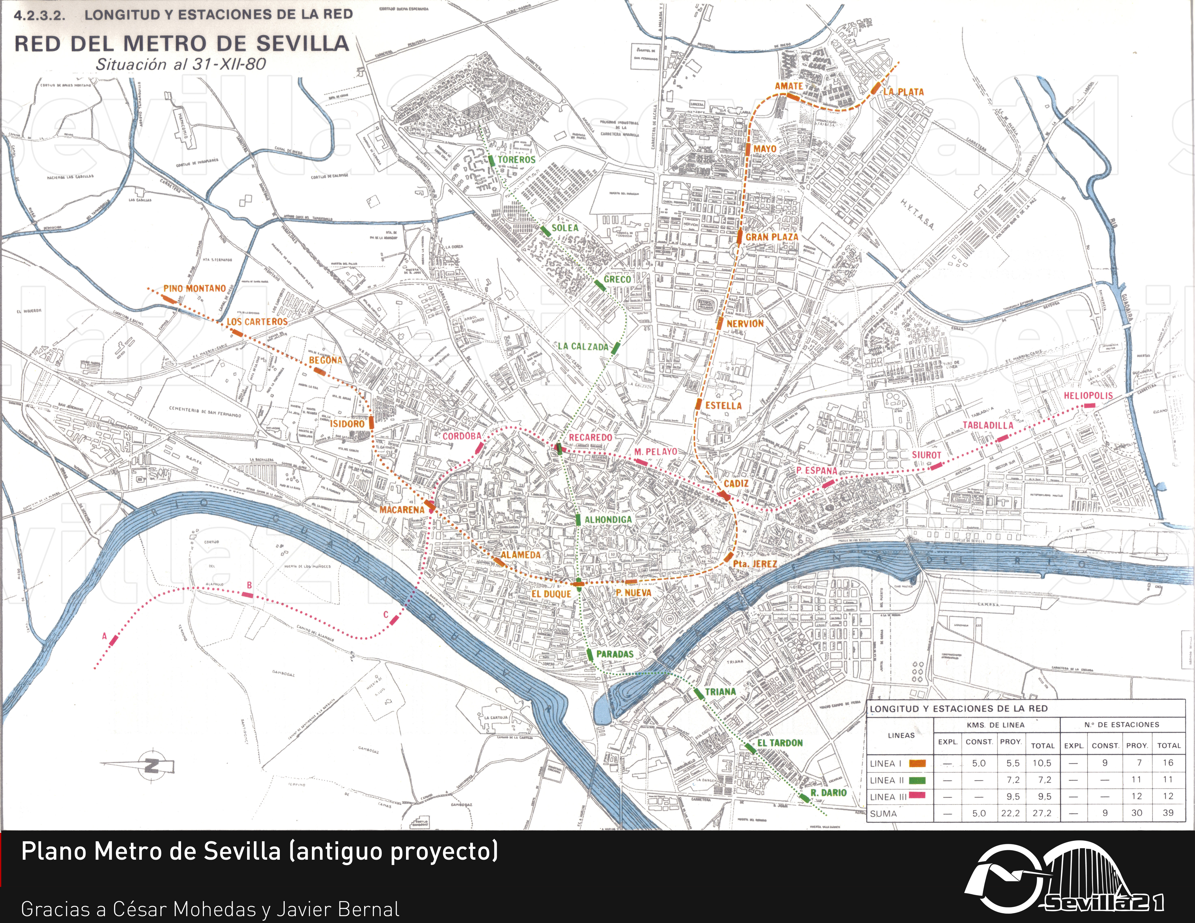 Seville subway network 1980