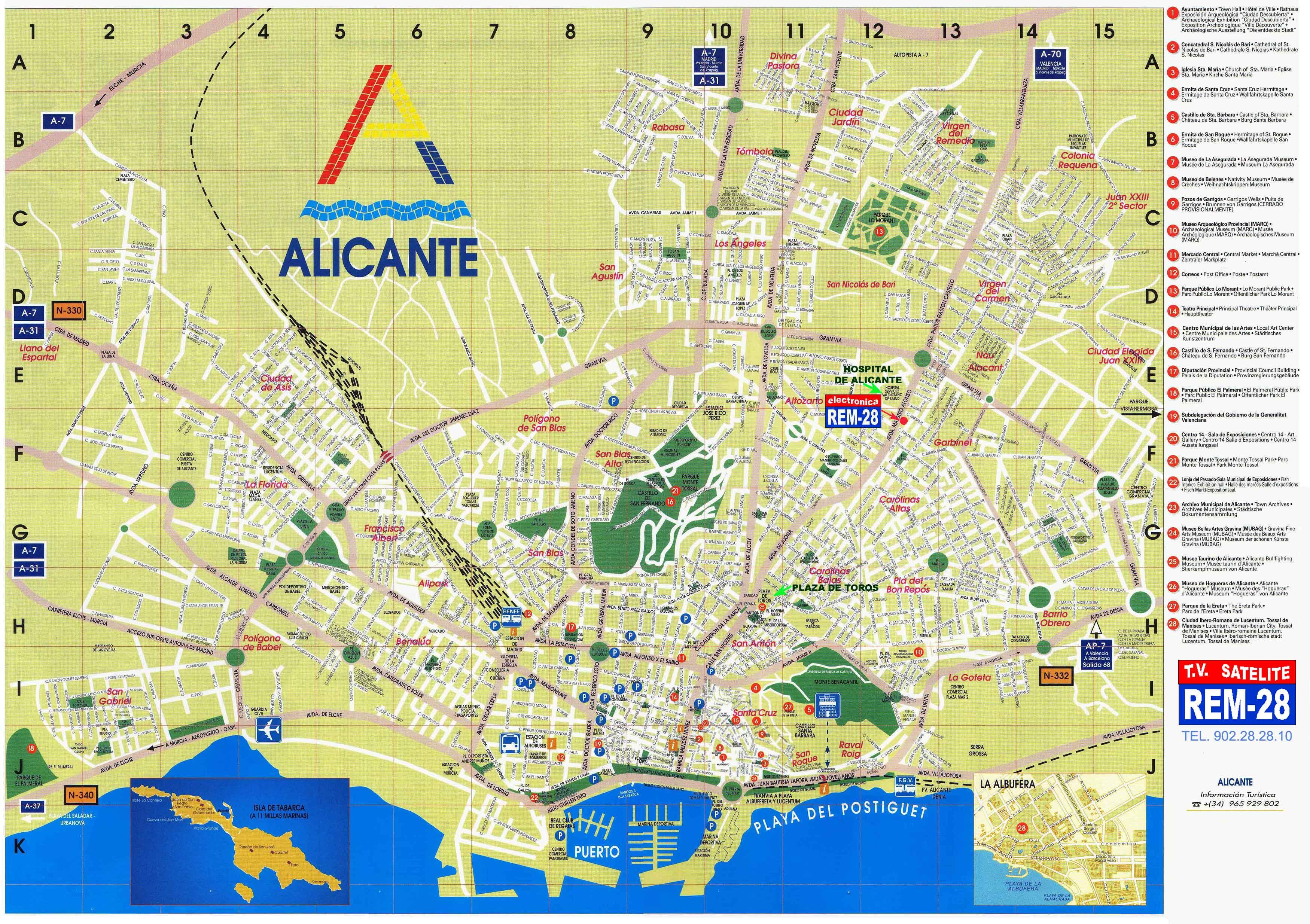 Mapa turístico de Alicante