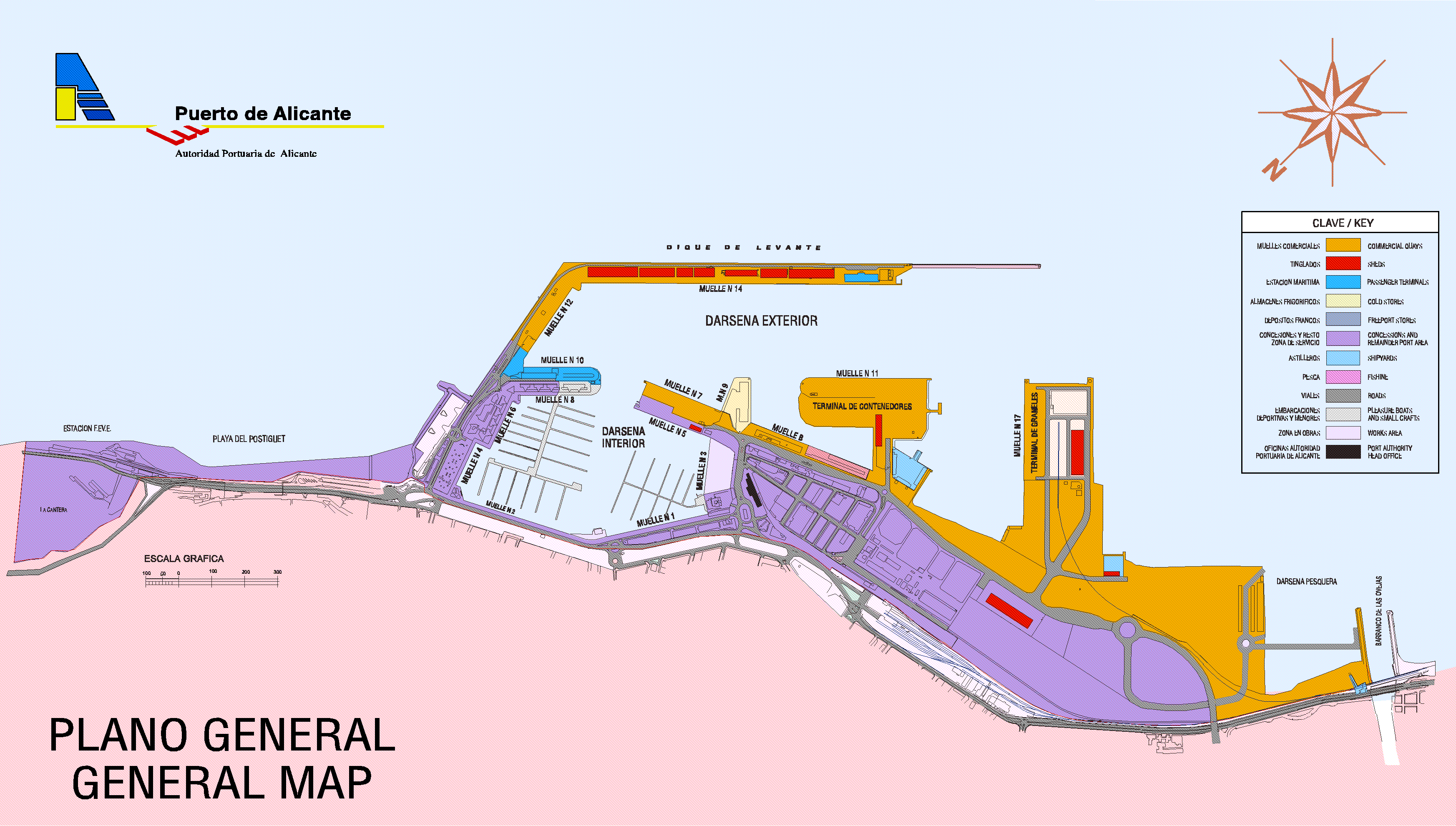 Alicante harboor map
