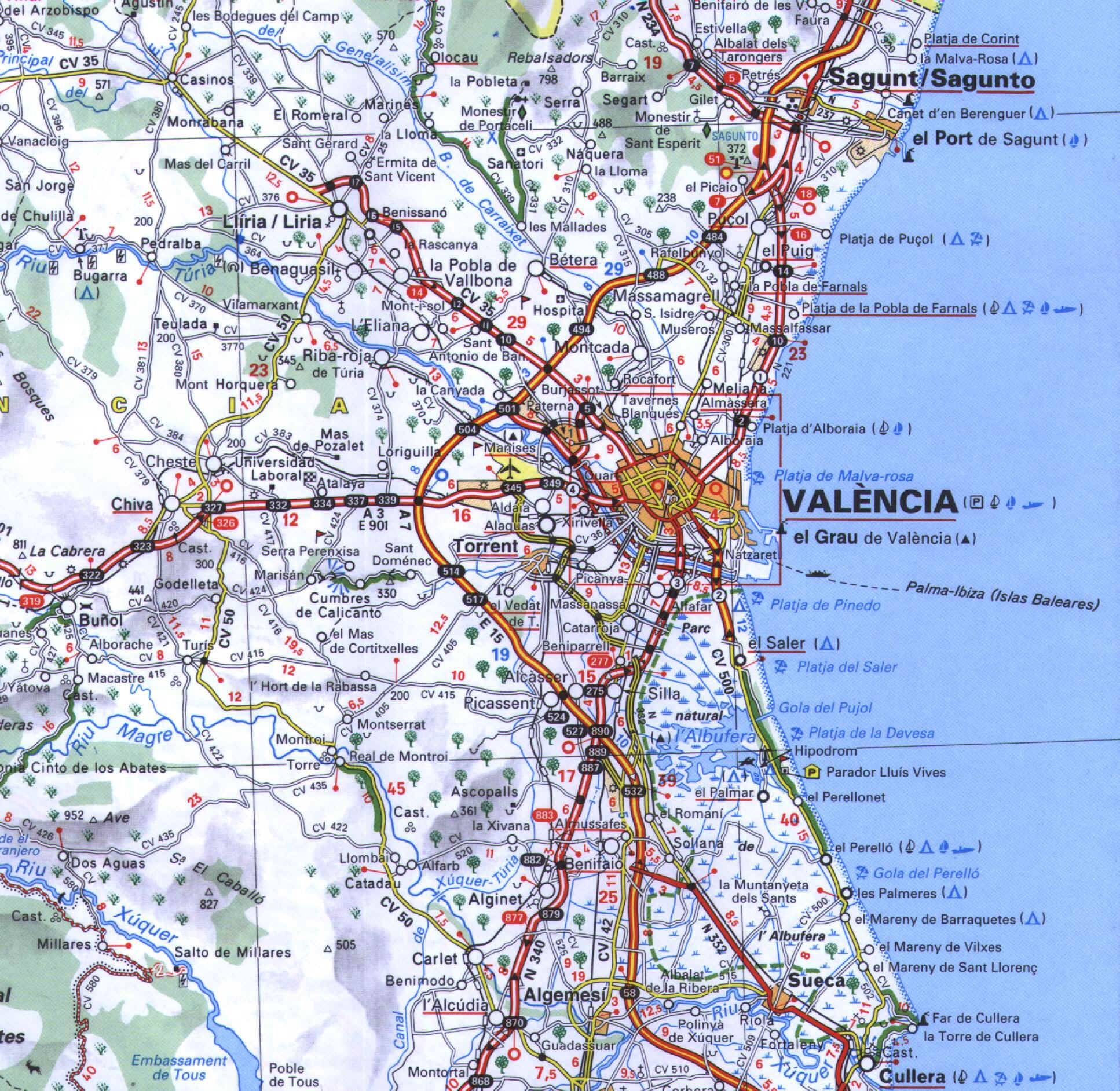 Valencia access map