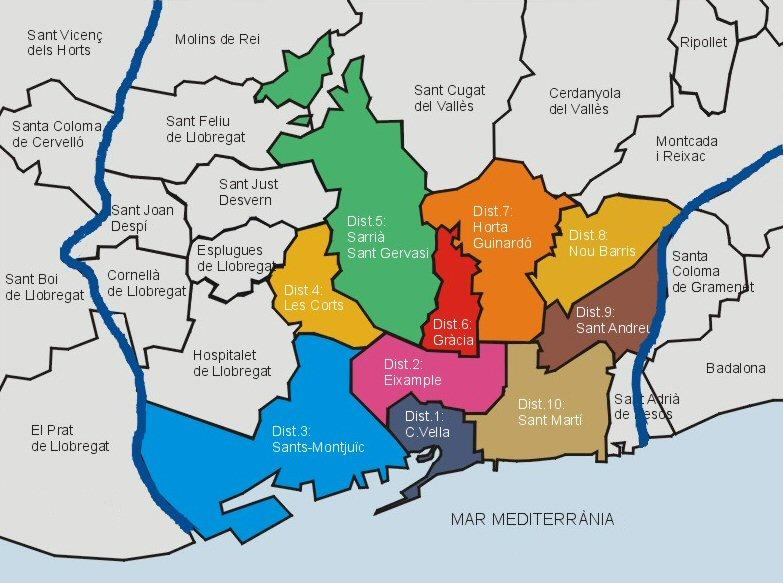 Mapa de los Distritos de Barcelona 2007