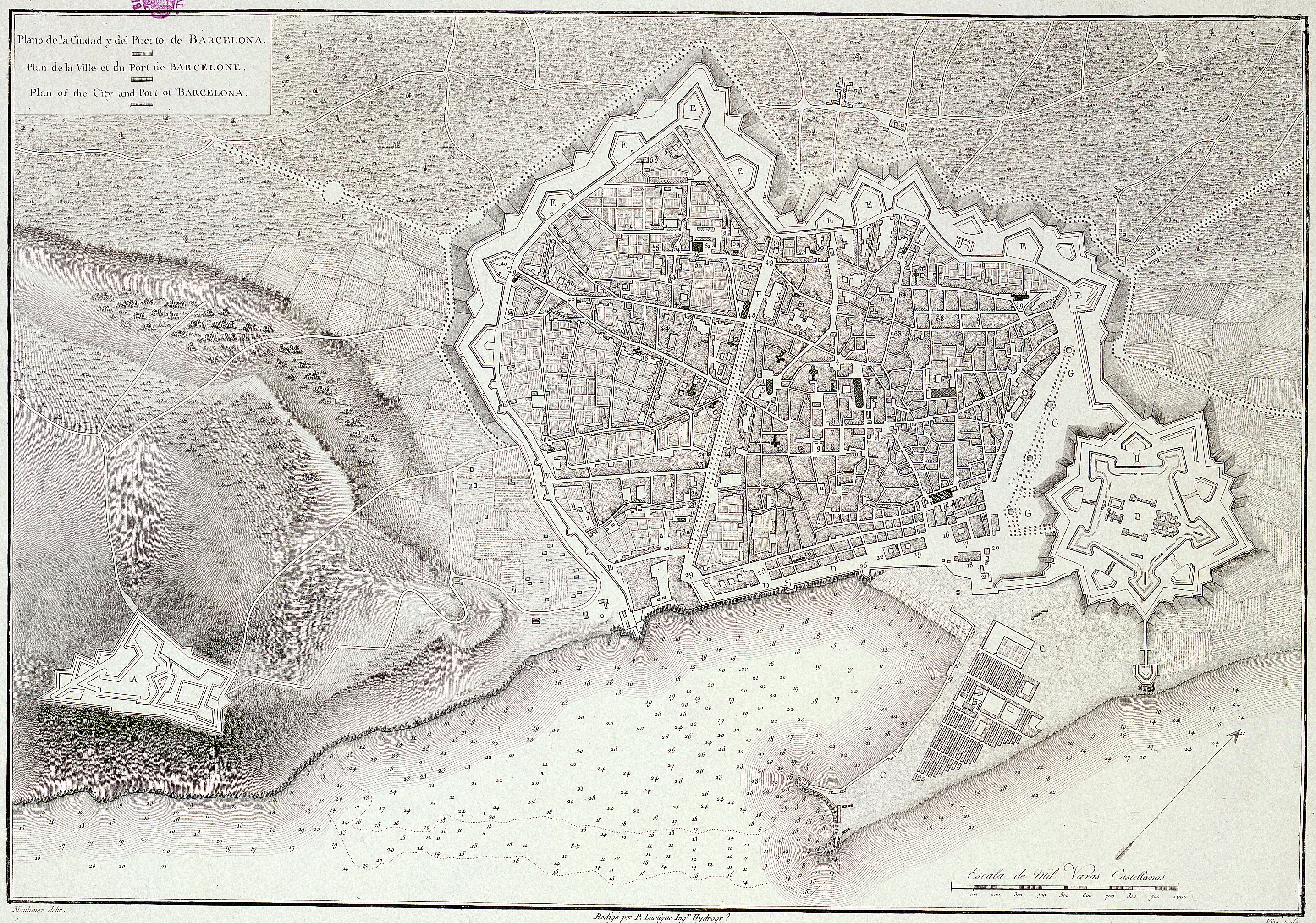 The walled city of Barcelona and the Citadel 1806