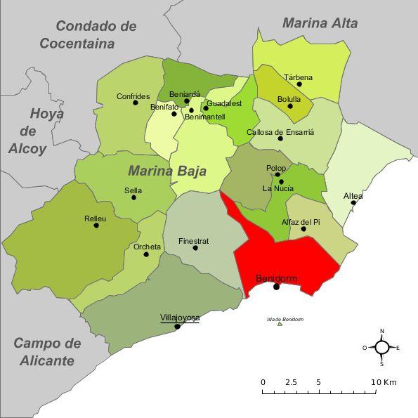 Benidorm in the comarca of the Marina Baixa