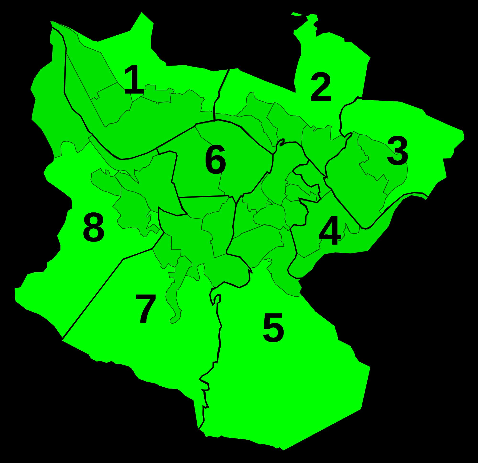 Distritos de Bilbao con su numeración oficial 2007