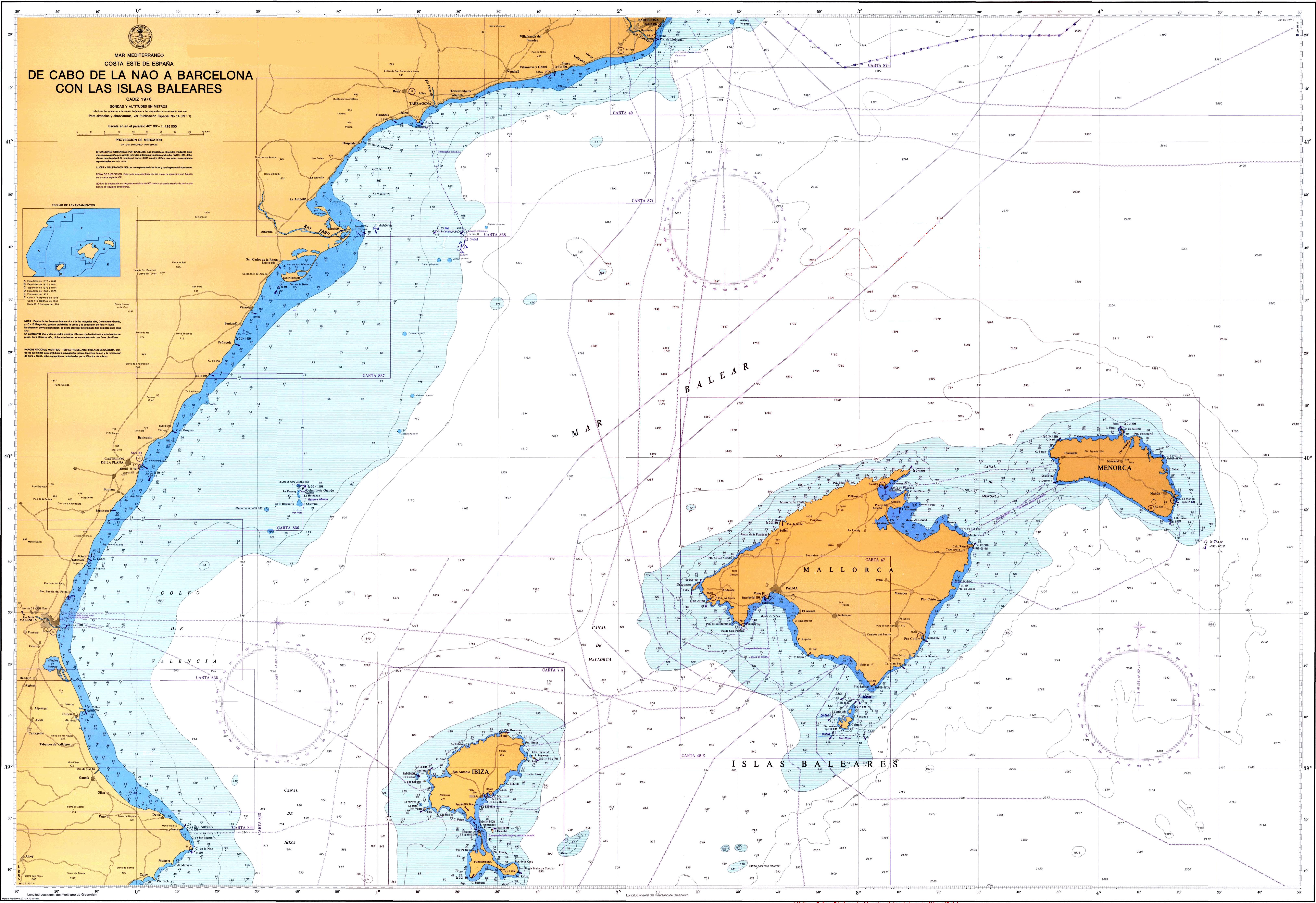 Carta náutica de las Islas Baleares 1978