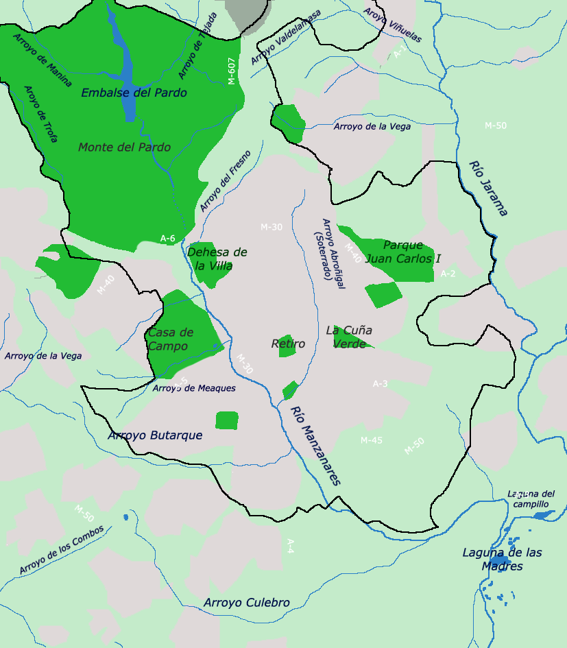 The rivers and major parks of the city of Madrid 2006