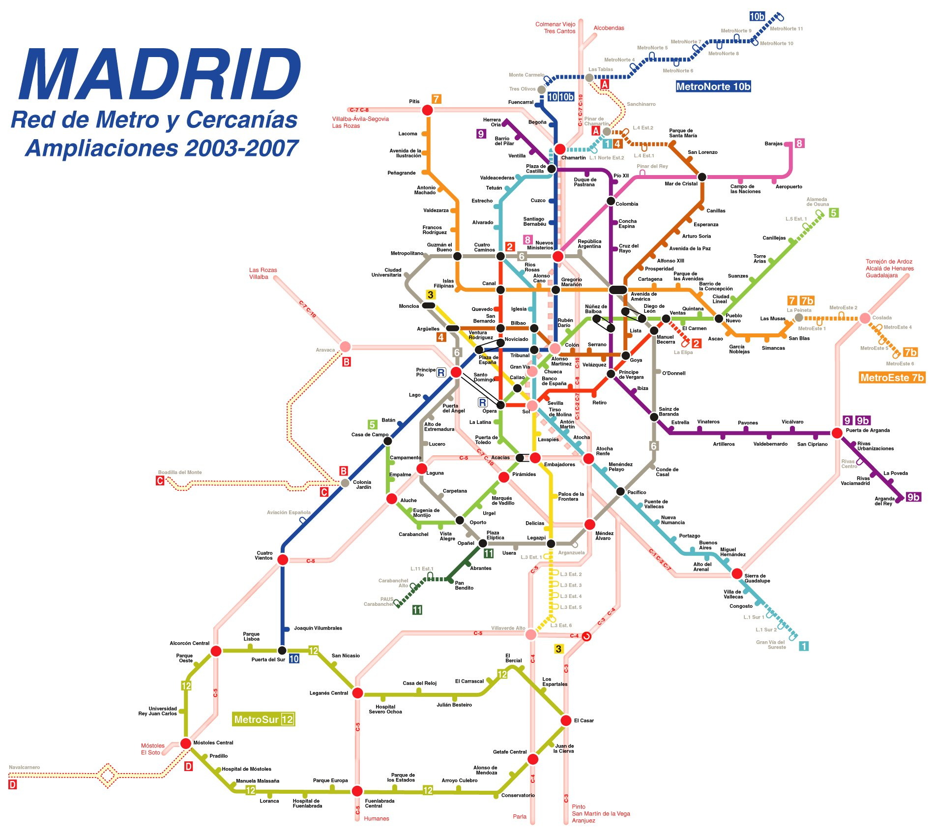 Metro network and Cercanías extensions 2003-2007