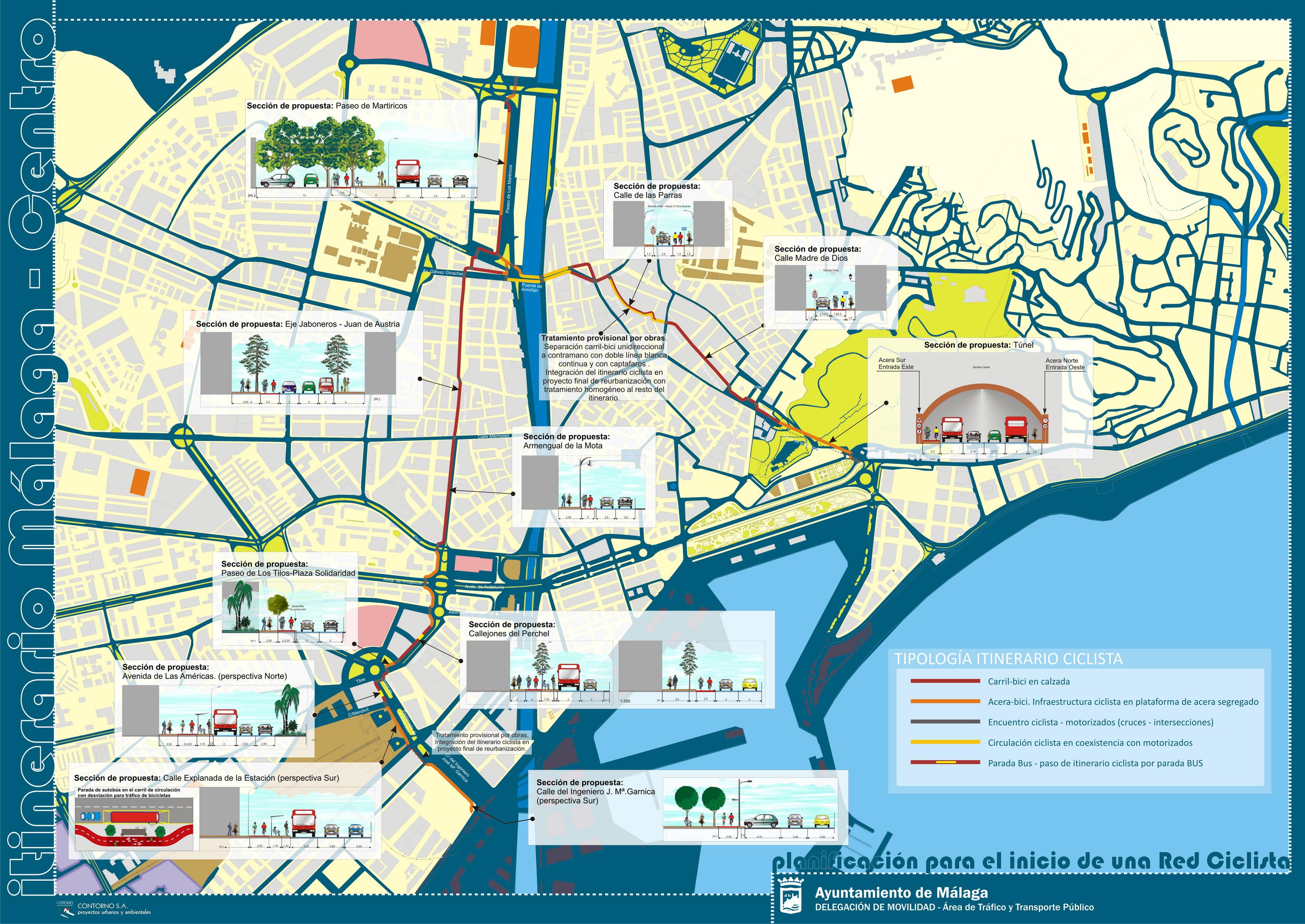 Vías ciclistas del Centro Histórico de Málaga 2011