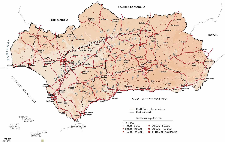 Carreteras y red ferroviaria de Andalucía 2002