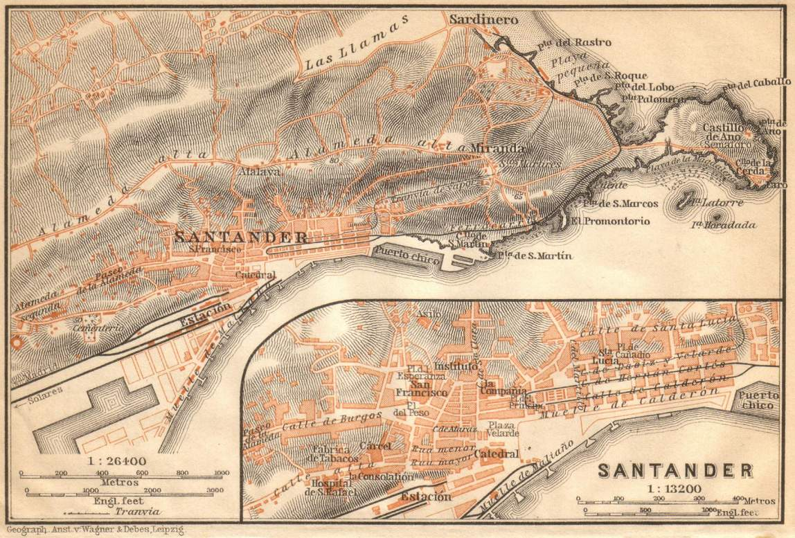 Santander & environs map 1899
