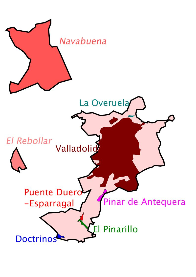 Valladolid, with its territories and population centers 2010