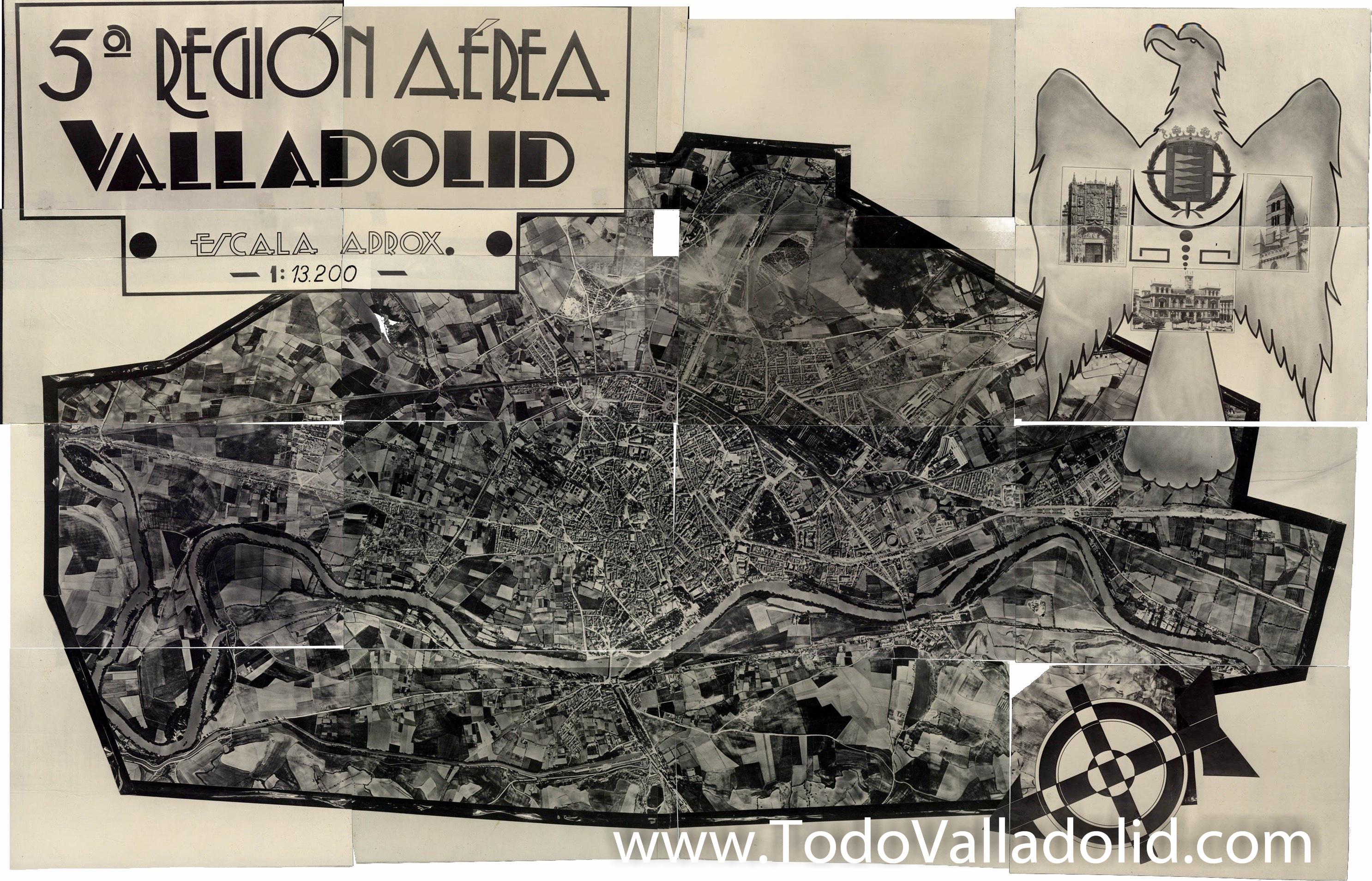 Fotografía aérea de Valladolid anterior a 1953