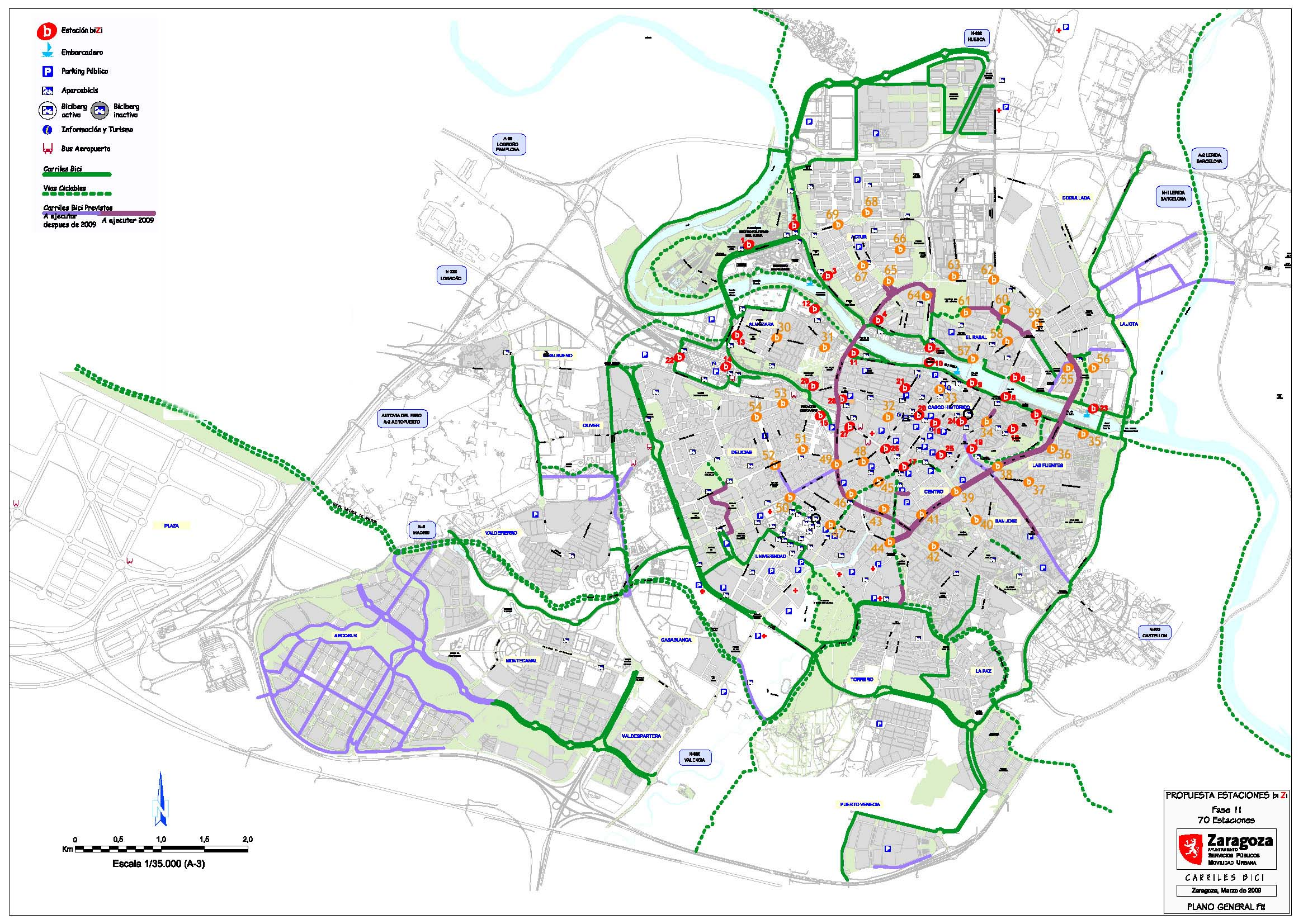 Zaragoza cycle routes network 2009