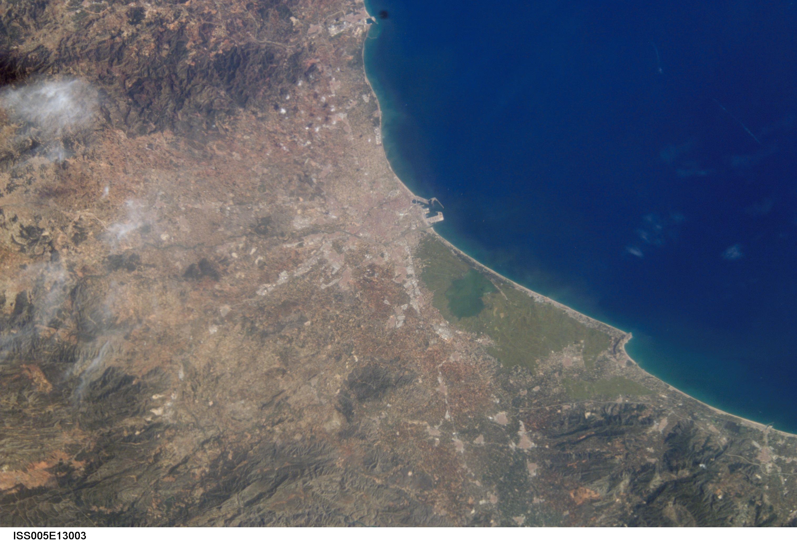 Fotografía satélite de la la depresión central Valenciana