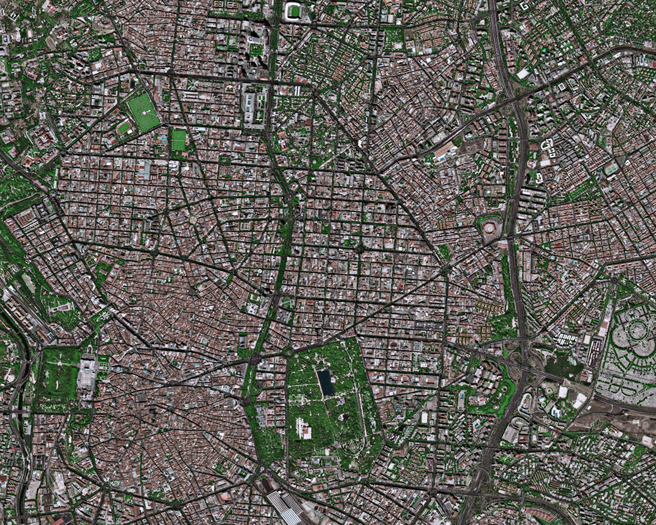 Satellite image of downtown Madrid