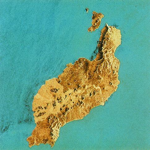 Imagen satelital de la Isla Lanzarote 1991