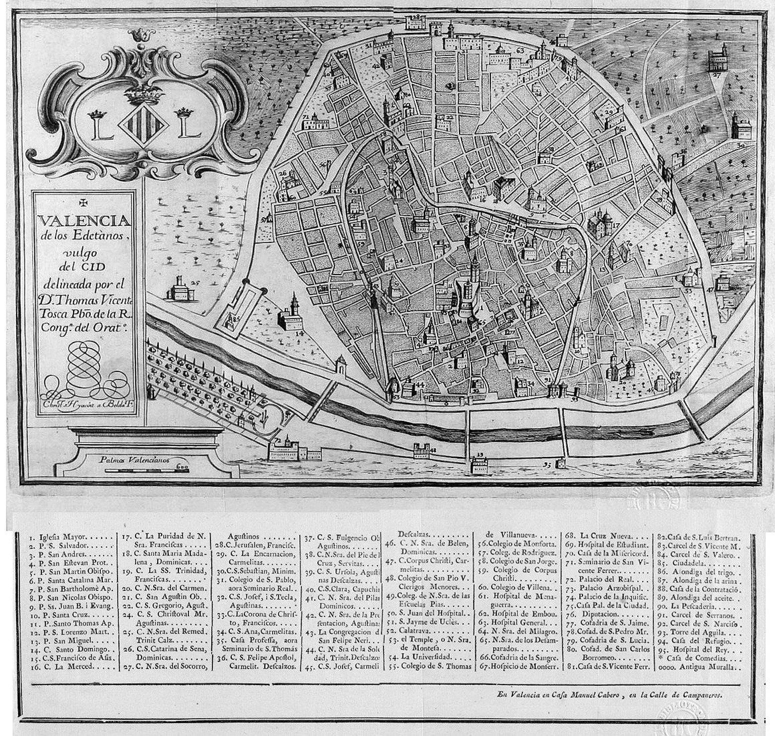 Plano de Valencia 1738