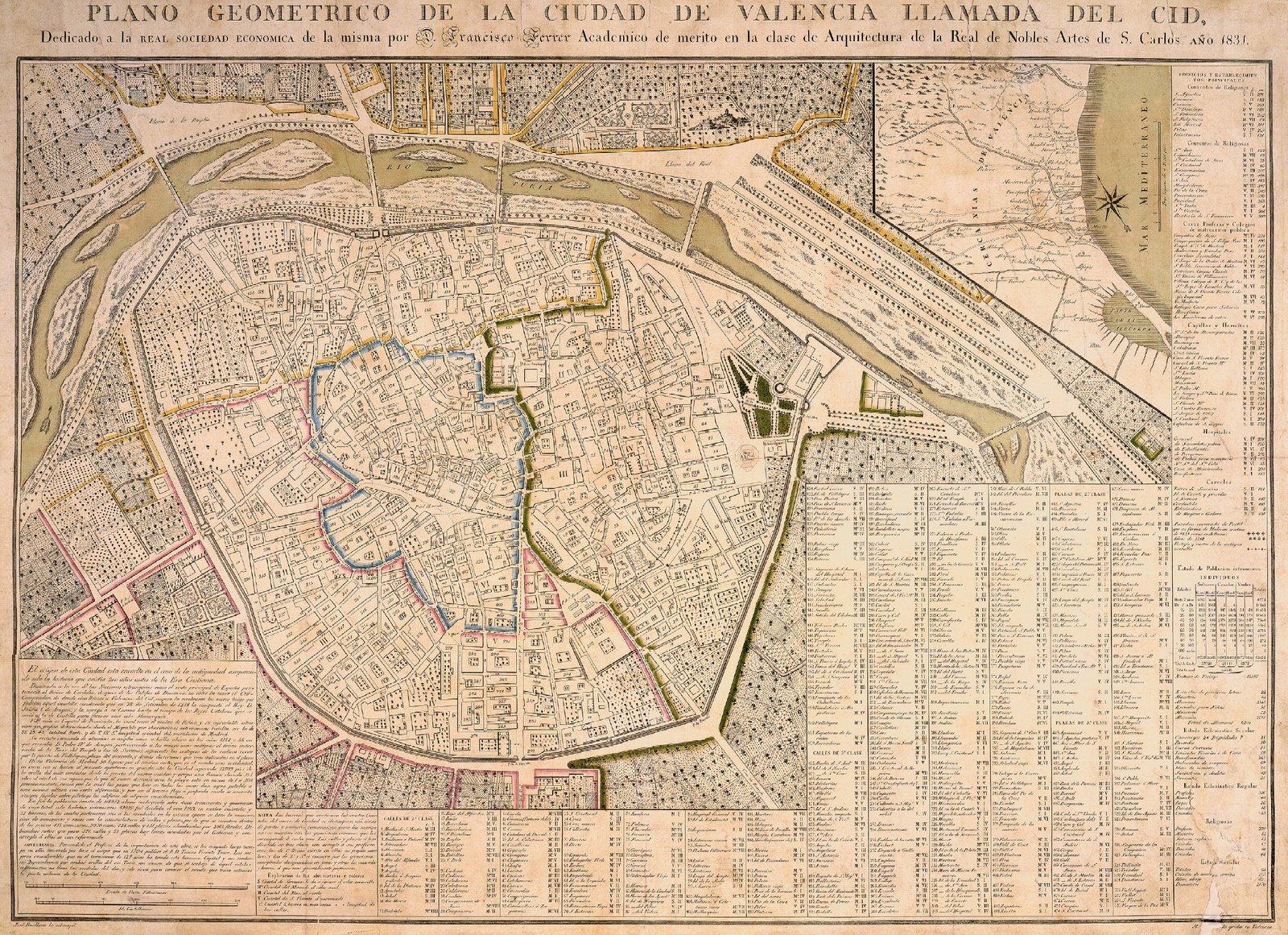 Plano de la ciudad de Valencia 1828