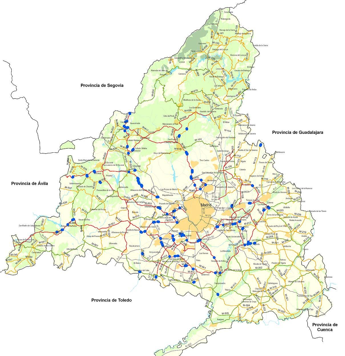 Mapa de las carreteras de Madrid 2009