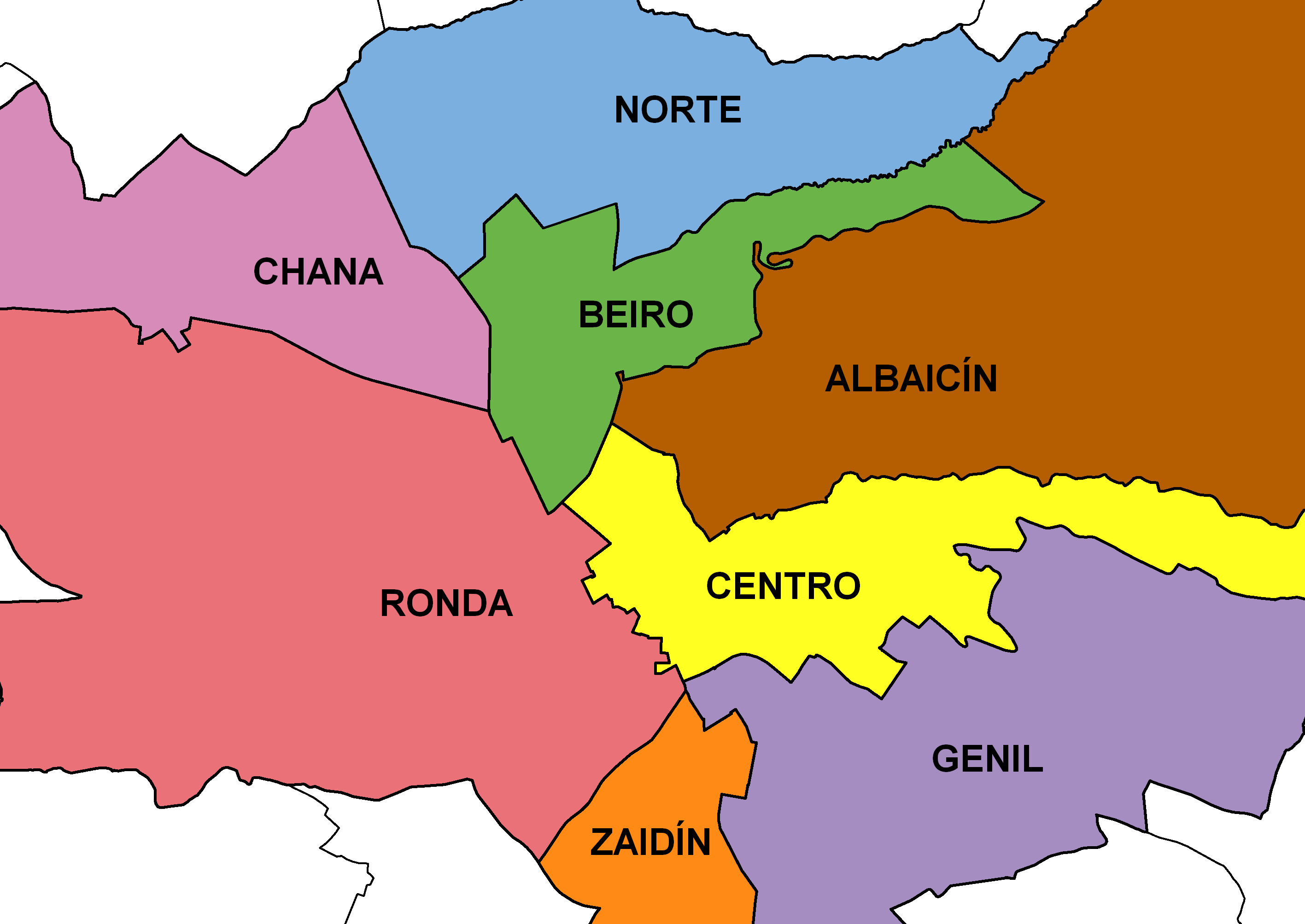 Districts of the city of Granada 2008