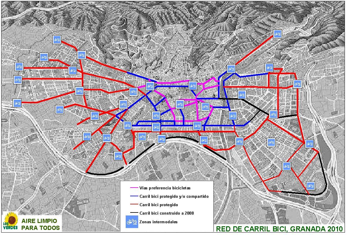 Red de carriles de bicicletas en Granada 2010