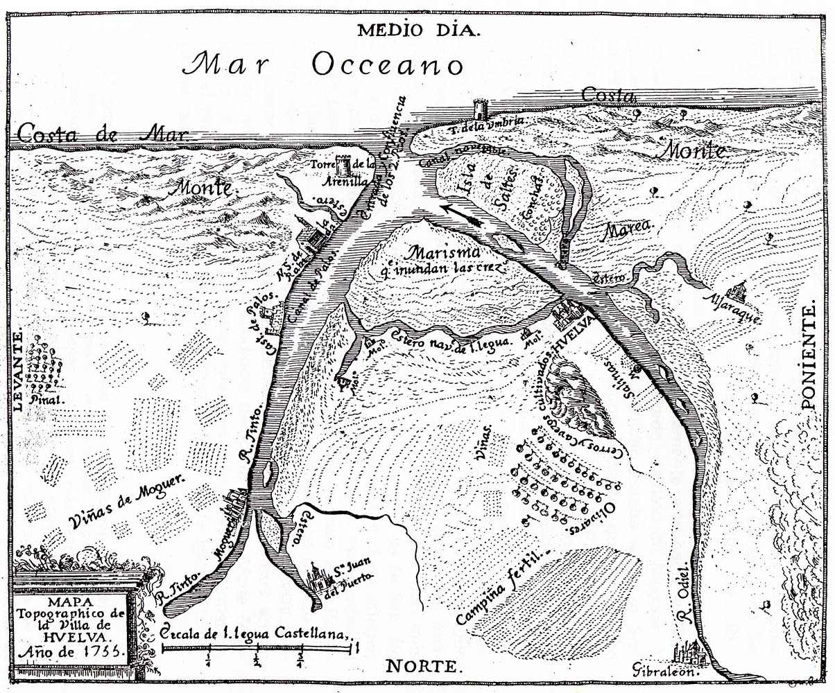 Huelva y los Lugares colombinos, siglo XVIII