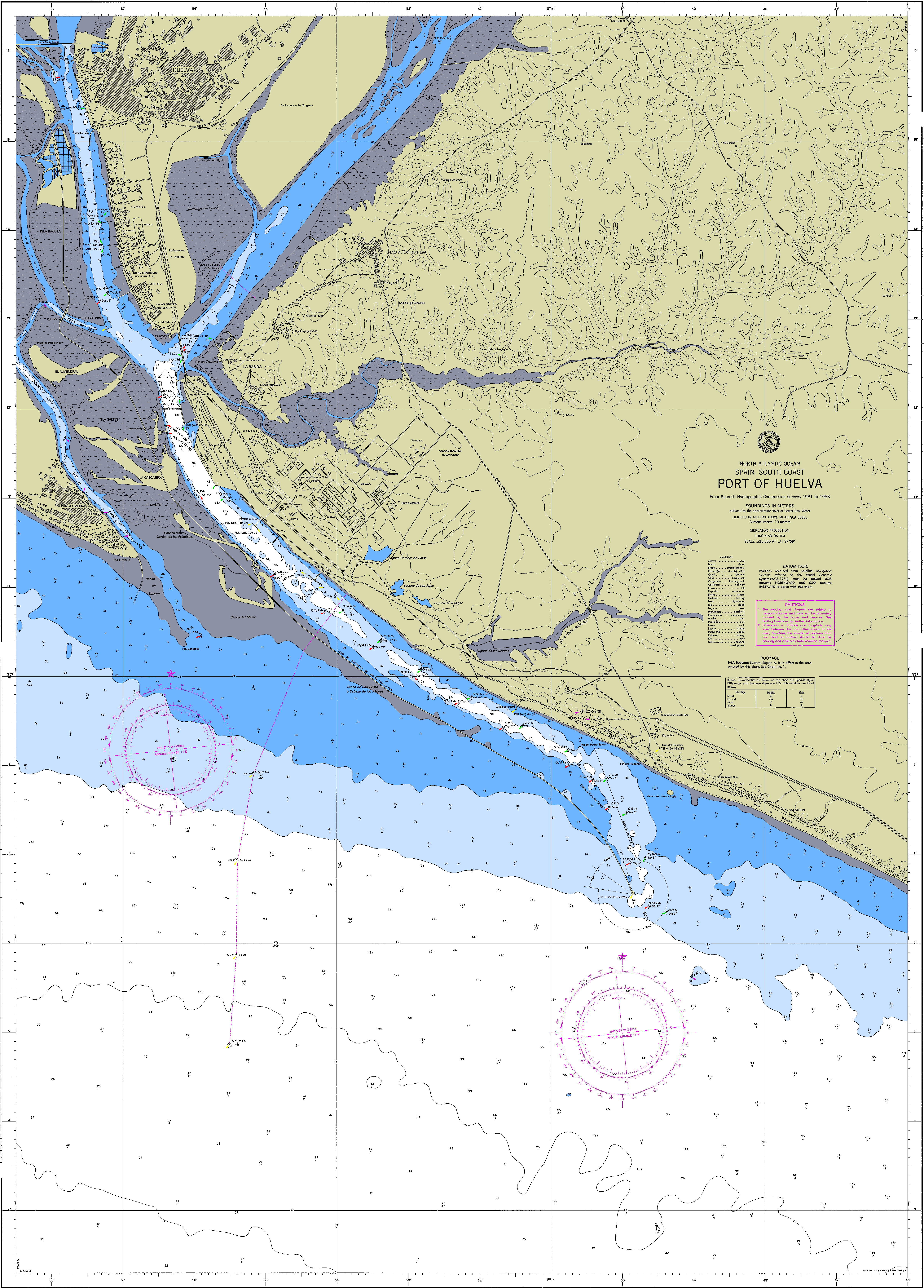 Nautical chart of the port of Huelva