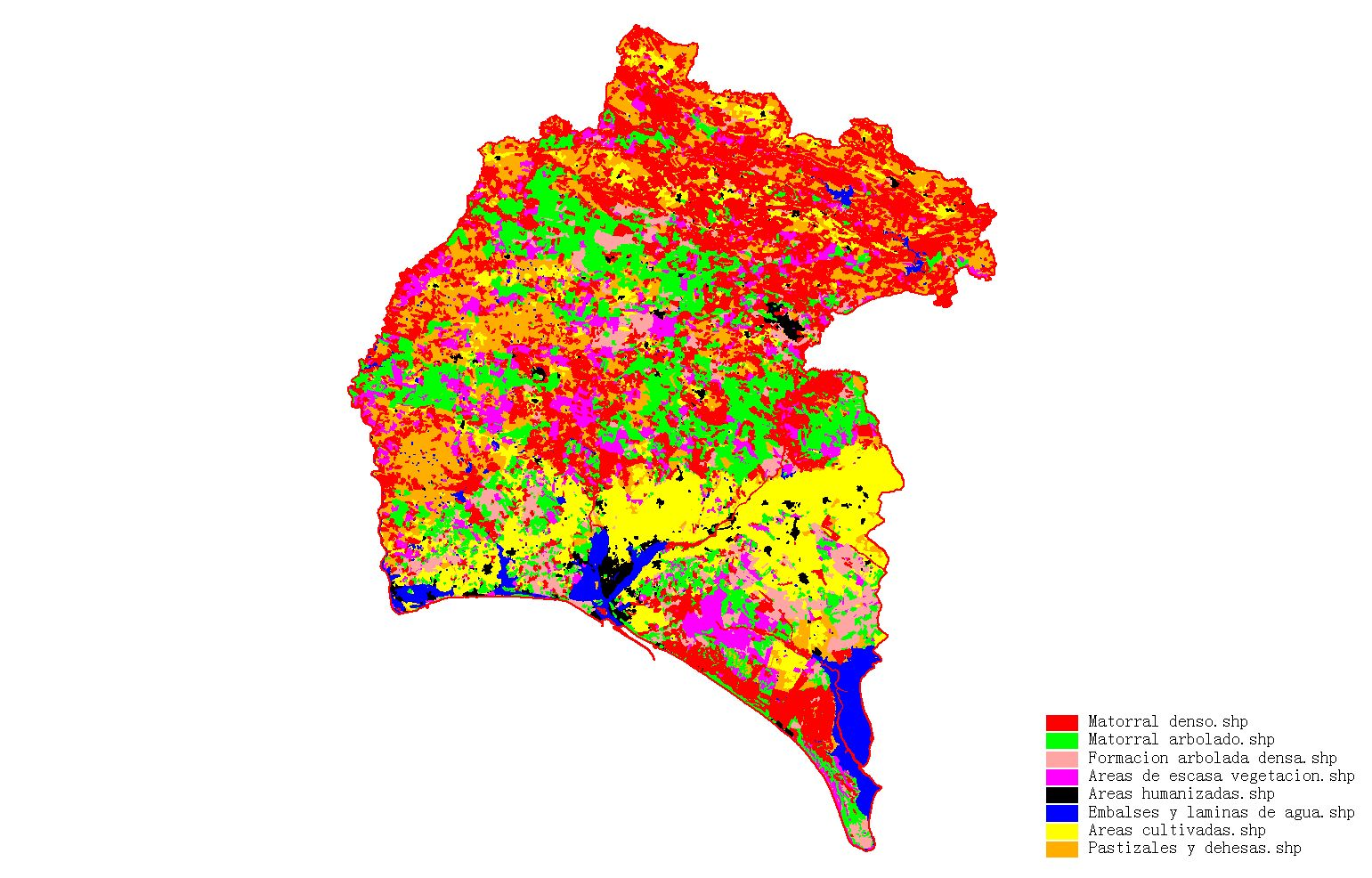 Coverage map of Huelva