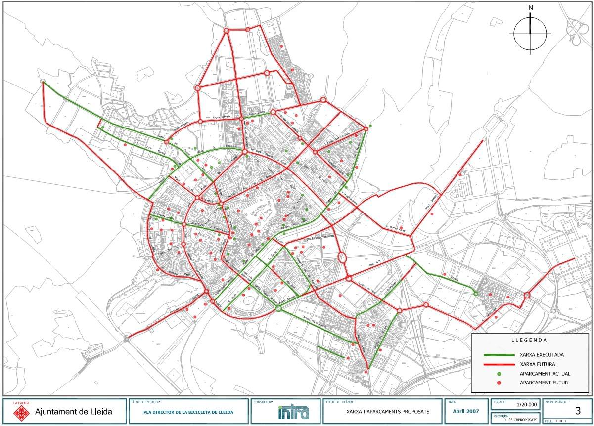 Bike routes, paths & parking in Lleida 2007