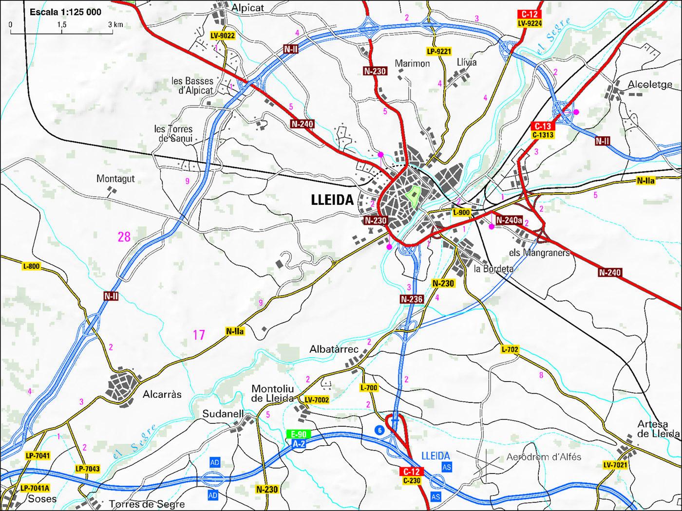 Mapa de accesos a Lérida