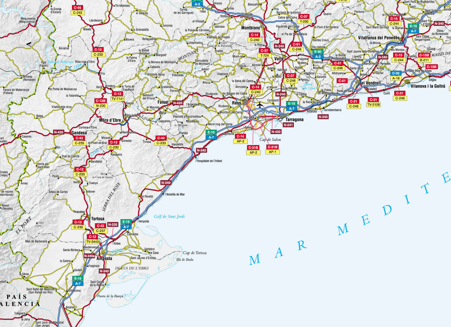 Mapa de carreteras de la Provincia de Tarragona