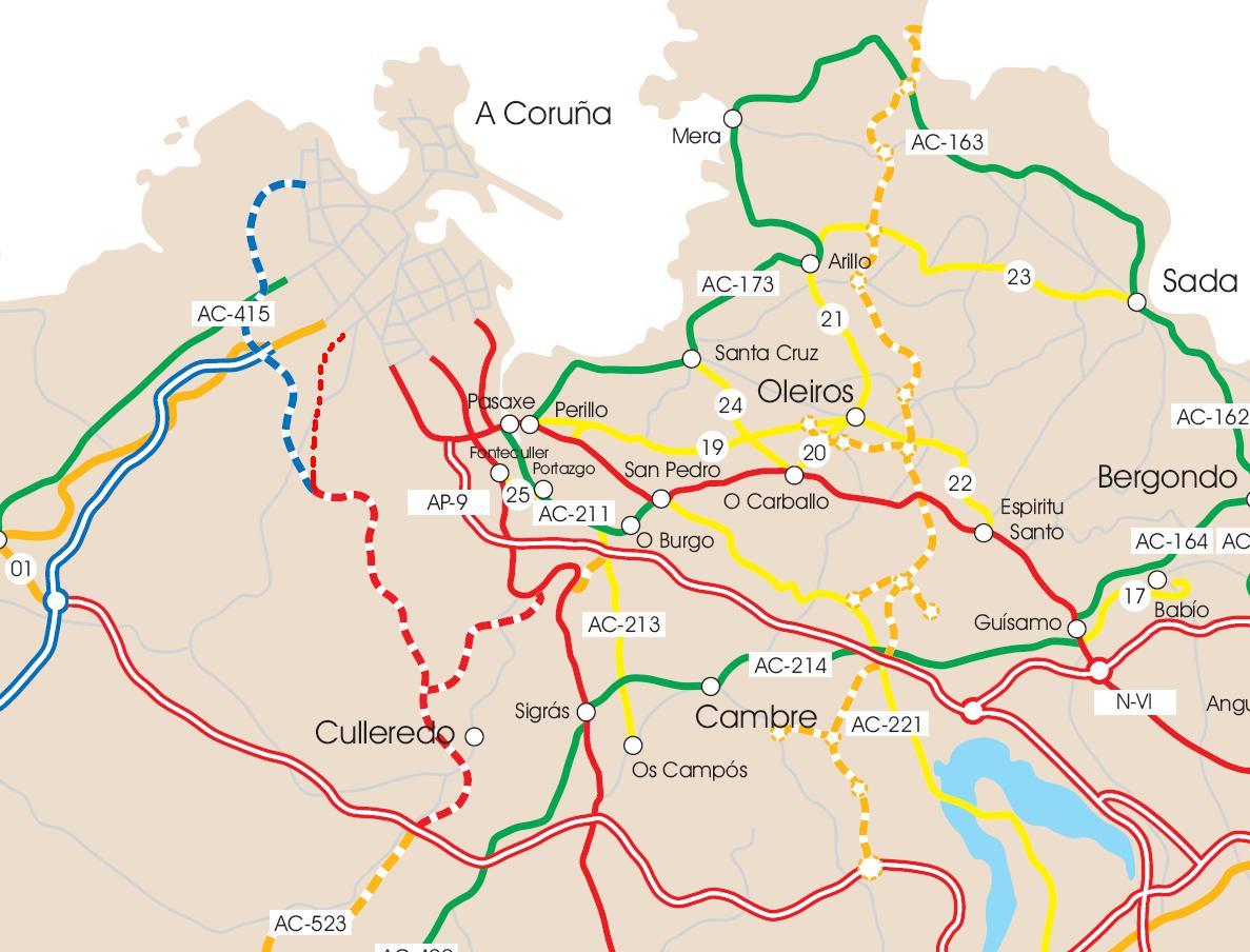 Accesos por carretera a La Coruña