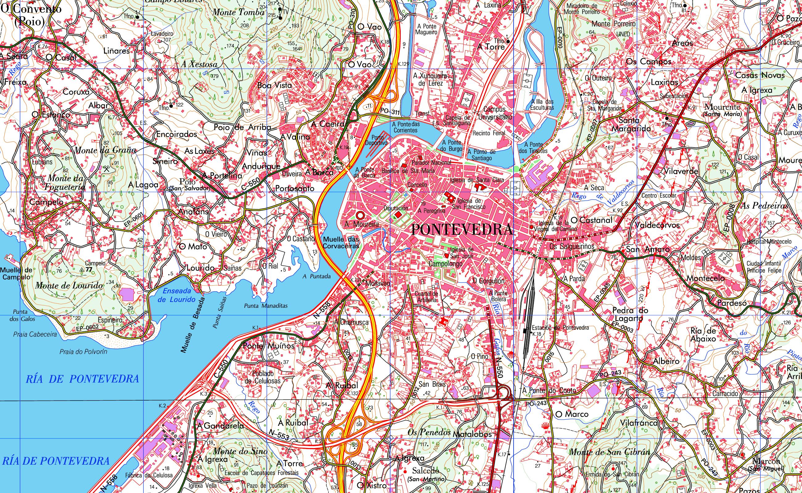 Mapa de Pontevedra